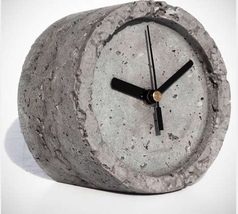 Textured Concrete Time-Tellers - A Concrete Table Clock Makes a Textured and Decorative Object