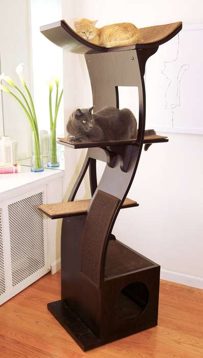 Fierce Feline Fortresses - The Lotus Cat Tower by The Refined Feline is a Purrfect Pet Commode