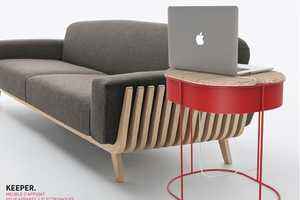 The Keeper Side Table Conceals Your Cord Clutter in an Enclosed Compartment