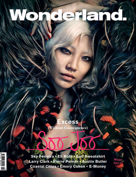 Darkly Extravagant Editorials - The Wonderland Magazine Winter 2013/2014 Cover Stars Soo Joo Park