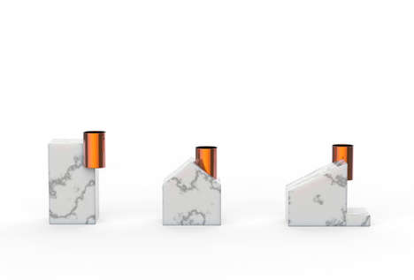House-Shaped Candle Holders - Chimney by Kenyon Yeh is Made out of Marble and Copper