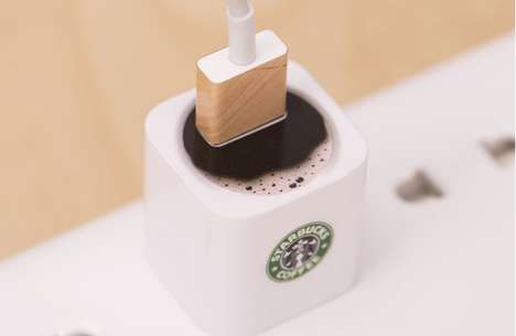 Jazzy Java Chargers - The Coffee Adapter Decal Gives a Caffeine Hit to Your Power Cord