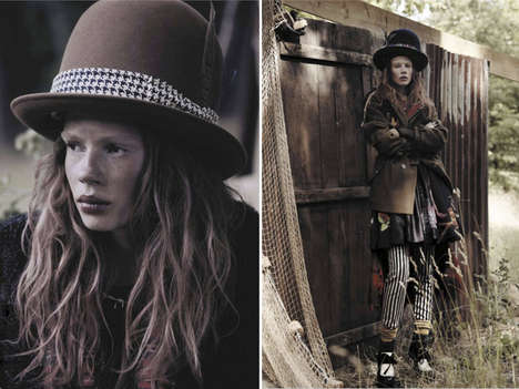 Grungy Outdoor Editorials - The Jalouse October 2013 Shoot Features Julia Zimmer in Hobo Chic Attire