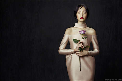 Elegant Flower-Inspired Lookbooks - The Phuong My FW13/14 Collection is Modeled by Jingna Zhang