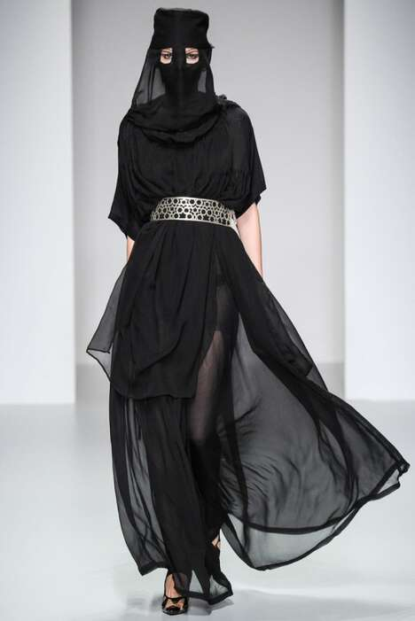 Edgy Arabian Runways - The KTZ Spring/Summer 2014 Womenswear Collection is Burka-Clad