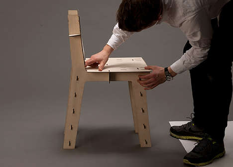Plywood Puzzle Perches - The Laser Chair Starts From One Panel and Slots Completely Together