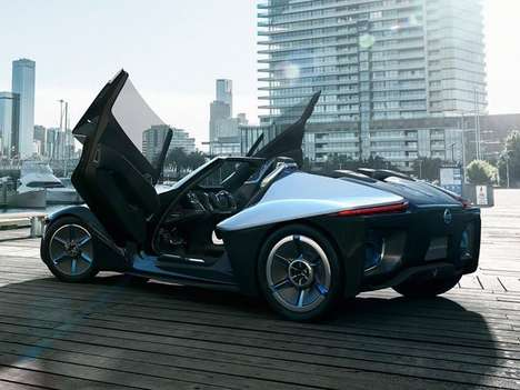 Stylish EV Sportscar Concepts - The Nissan BladeGlider Sports Butterfly Doors and an Atypical Design