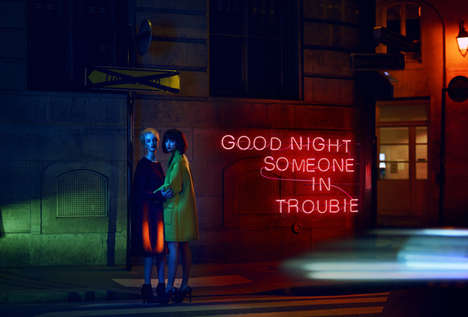 Dramatic Neon Sign Editorials - The Stiletto Magazine