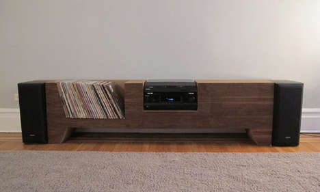 Custom Cardboard Furnishings - The Record Player Console Has Proportionate Cubbies for its Contents