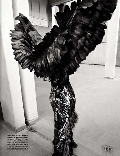 Edgy Avian-Inspired Editorials - This Sam Rollinson Vogue Editorial Features Feather Fashion