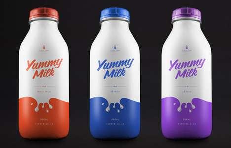 Color-Splashed Beverage Branding - Yummy Milk Packaging Introduces a Splatter of Visual Flavor