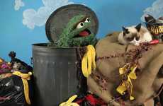 Oscar the Grouch and Grumpy Cat Have a Staring Competition