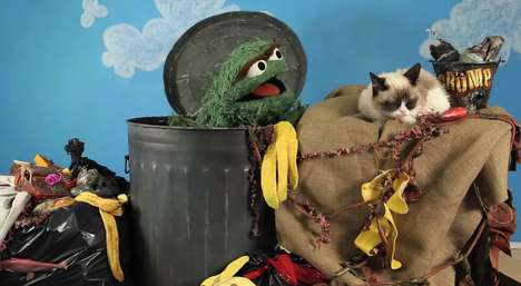Epic Grumpy Character Competitions - Oscar the Grouch and Grumpy Cat Have a Staring Competition