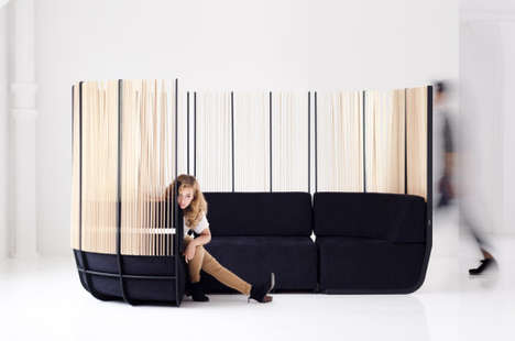 Fenced-In Chesterfields - The Hull Sofa is Surrounded in Timber Slats to Create a Semi-Private Nook