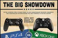Combative Gaming Console Graphics - The Playstation vs Xbox Infographic Picks Out Winning Features