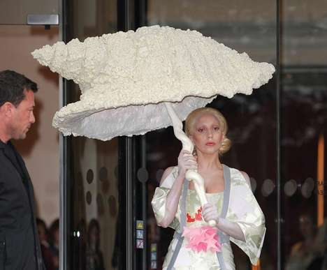 Outrageous Shellbrellas - Lady Gaga's Unique Umbrella Design is Shaped Like a Giant Seashell