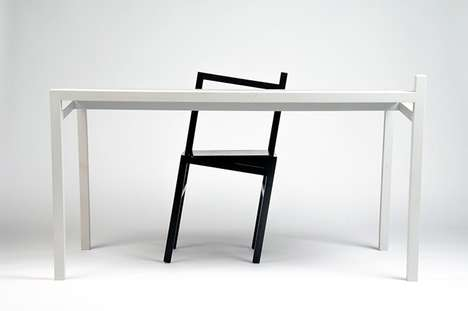 Slanted Dining Set Designs - These Furnishings by Rasmus Baekkel Fex Defy Gravity