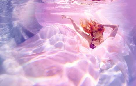 Romantically Submerged Photography - Underwater Lingerie by Michael David Adams is Drowning in Pink