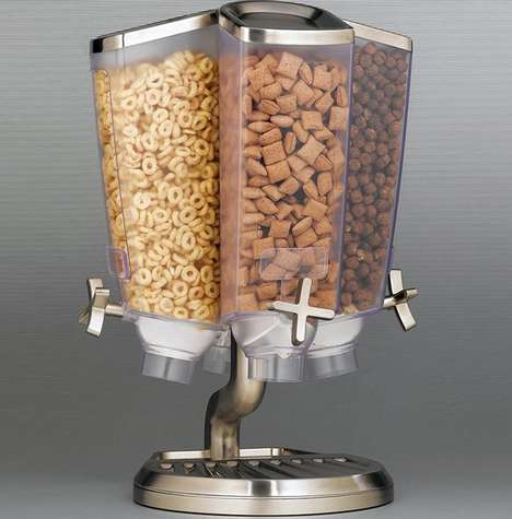 Revolving Cereal Dispensers - This Freestanding Food Dispenser Separates Snacks & Cereals Neatly