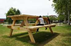 Oversized Furniture Installations - Benedetto Bufalino's Giant Picnic Table Piece is in France