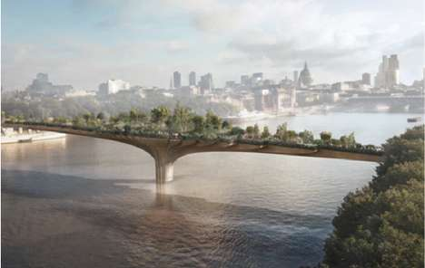Overgrown Overpass Landscapes - The Thames Garden Bridge Adds Greenery to the London Cityscape