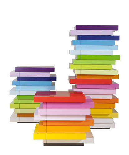 Asymmetrical Rainbow Cabinets - The Mille-Feuille Storage Series by Emmanuelle Moreaux is Colorful