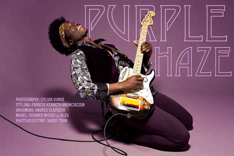 Rock Legend Editorials - The Purple Haze Image Set by Sylvia Gunde Merges Fashion with Music