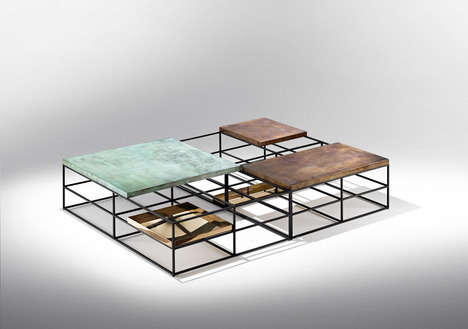Rectangle Layered Furnishings - These Cages Tables Marry Aesthetics with User-Practicality