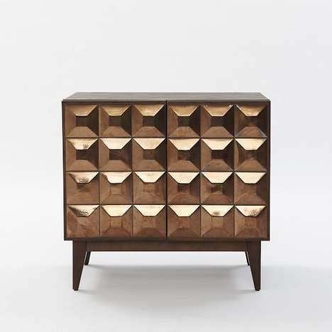 Textured Geometry Furnishings - The Lubna Chowdhary Tiled Buffet from West Elm is Multi-Dimensional
