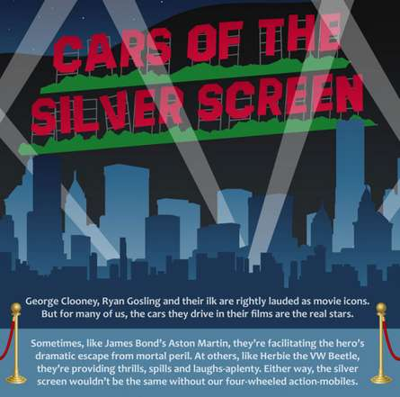 Iconic Movie Car Infographics - This Infographic Highlights Famous Cars of the Silver Screen