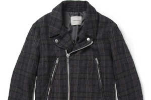 The Undercover Plaid Wool Biker Jacket is Made From a Soft Brushed-Wool
