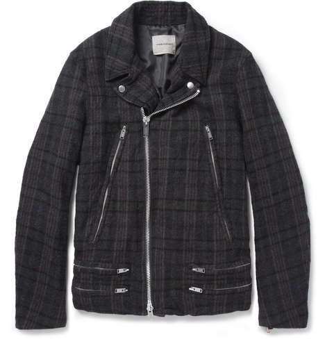 Cozy Biker Jackets - The Undercover Plaid Wool Biker Jacket is Made From a Soft Brushed-Wool
