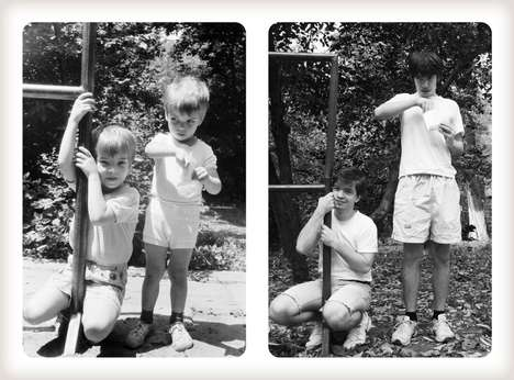 Re-Created Family Photographs - Two Brothers Duplicate Family Photos 20 Years Later for Their Mom