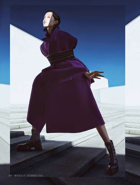 Futuristic Outerwear Editorials - The Modern Weekly China October 2013 Photoshoot Stars Xiao Wen Ju