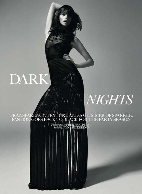 Ebony Party Dress Editorials - The Marie Claire UK December 2013 Photoshoot Stars Egle Tvirbutaite
