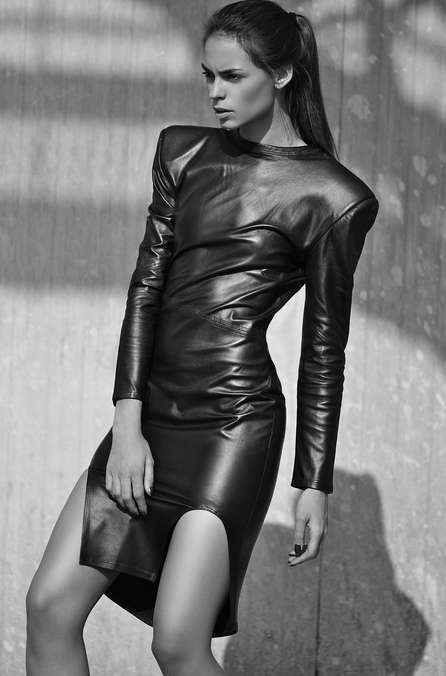 full body leather dress