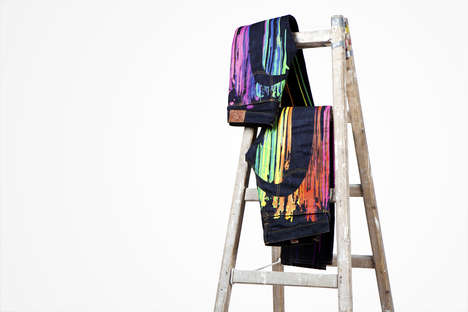 Drippy Rainbow Denim - The Evisu X Insa Rainbow-Colored Jeans Mix Fashion and Street Art