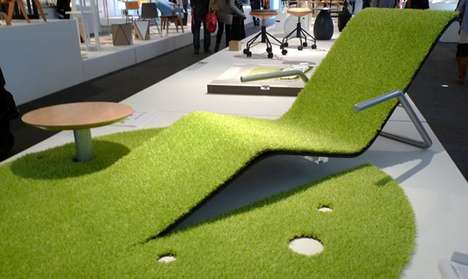 Grassy Rug Recliners - This Unique Lounge Chair Design Combines Multiple Furnishings