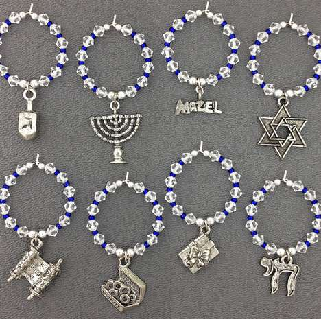 Hanukkah-Themed Wine Charms - Wine Charms are an Excellent Way to Decorate for the Holidays