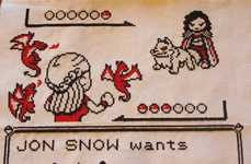 Fantasy Pocket Monster Stitchings - This Geeky Cross Stitch Fuses Game of Thrones and Pokemon