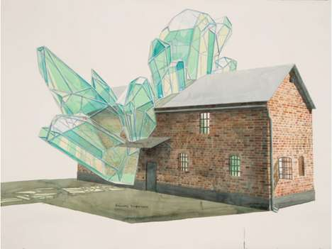 Architectural Hybrid Illustrations - These Geometric Sculpture Watercolors Blur Perceptive Lines