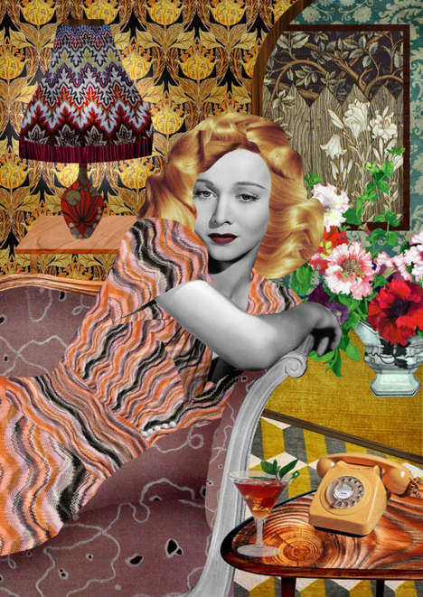 Fashionably Fragmented Collages - These Kathrin Kuhn Artworks Reference Retro Glamour