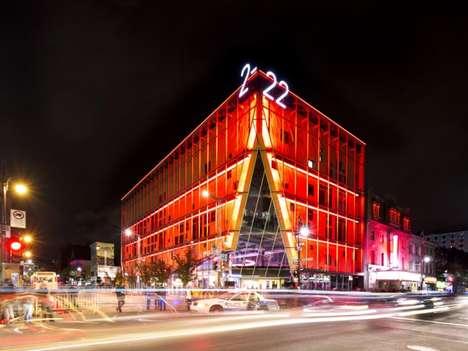 Color-Changeing LED Architecture - The La Vitrine Culturelle Embodies an Urban Spirit