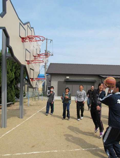 Multi-Hoop Basketball Boards - No One Wins by Llobet & Pons Gives Everyone a Chance at Once