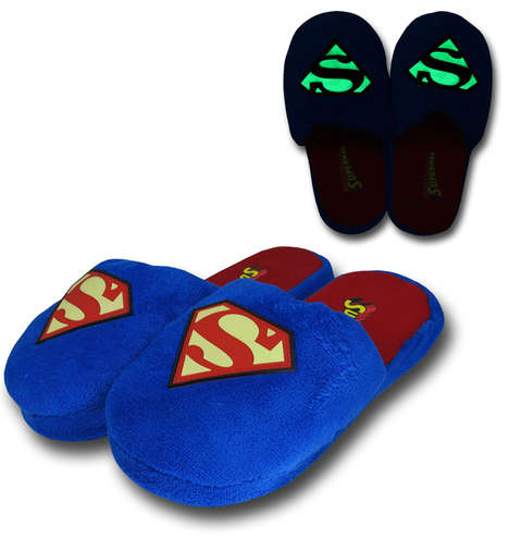 Illuminated Superhero Slippers - These Superman Slippers Wonderfully Glow-in-the-Dark