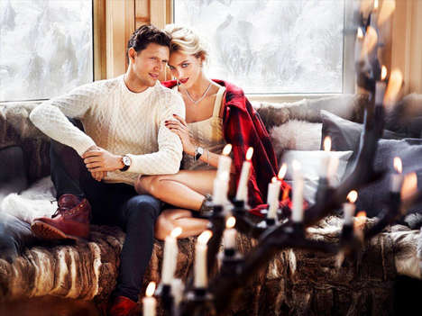 Cozy Couple Fashion Ads - The Apart Christmas 2013 Campaign Stars a Glam Anja Rubik