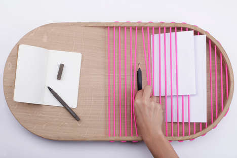 Minimalist Corded Trays - Pocket by Margaux Beja Conceals and Reveals Objects at Once