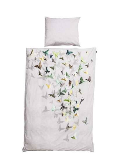 Floating Origami Duvet Covers - Printed Orgami on a Bed Duvet Looks Three-Dimensional