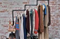 Industrial Garment Racks - Stella Blue Designs Creates a Stylish Wardrobe Unit for Homes