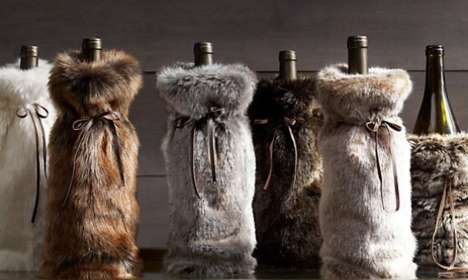 Fuzzy Furry Bottle Bags - The Luxe Faux Fur Bottle Bag Will Make Your Liquir Luxurious and Chic